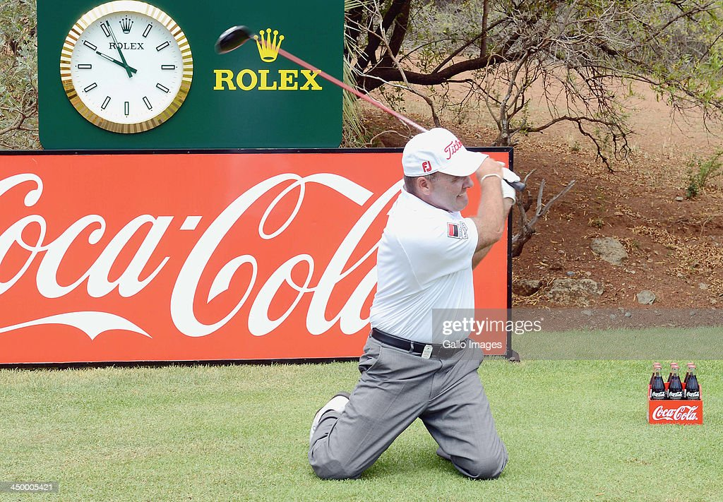 Thomas Levet tees off during Round 1 of the Gary Player Invitational presented by Coca-Cola at The Lost City Golf Course on November 16, 2013 in Sun City, South Africa.