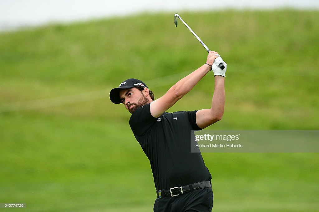 Thomas Linard of France hits his 2nd shot on the 17th hole during the first round of the 100th Open de France at Le Golf National on June 30, 2016 in Paris, France.