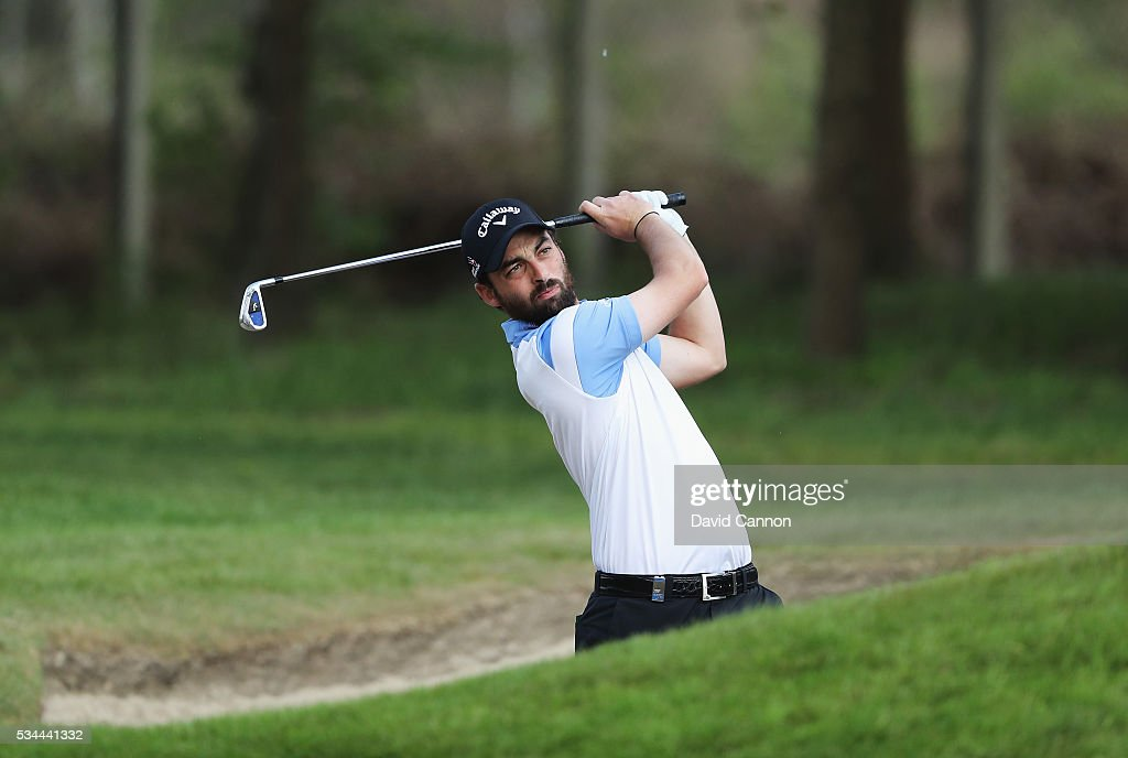 Thomas Linard of France in action during day one of the BMW PGA Championship at Wentworth on May 26, 2016 in Virginia Water, England.