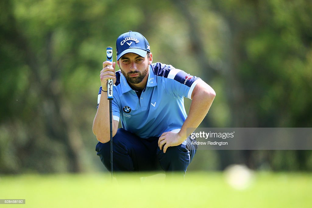 Thomas Linard of France lines up a putt on the 2nd during the first round of the Trophee Hassan II at Royal Golf Dar Es Salam on May 5, 2016 in Rabat, Morocco.