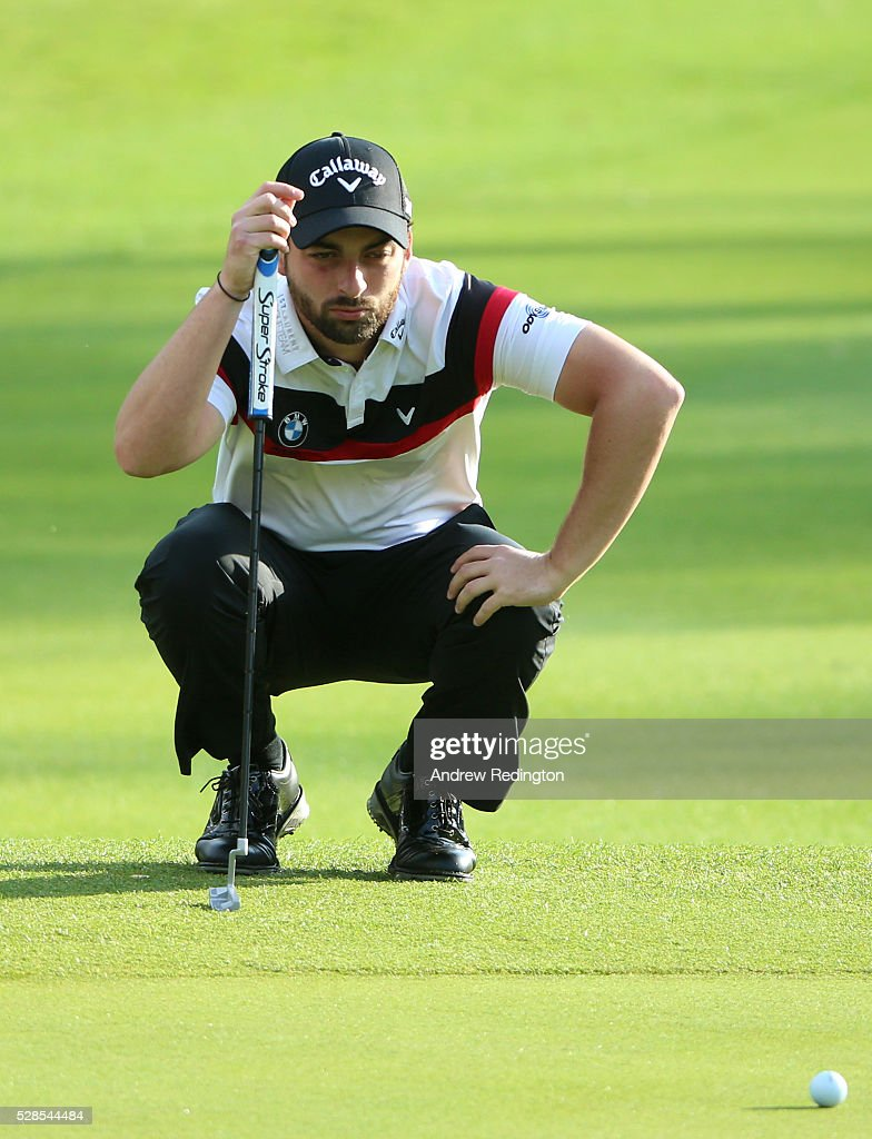 Thomas Linard of France lines up a putt on the first hole during the second round of the Trophee Hassan II at Royal Golf Dar Es Salam on May 6, 2016 in Rabat, Morocco.