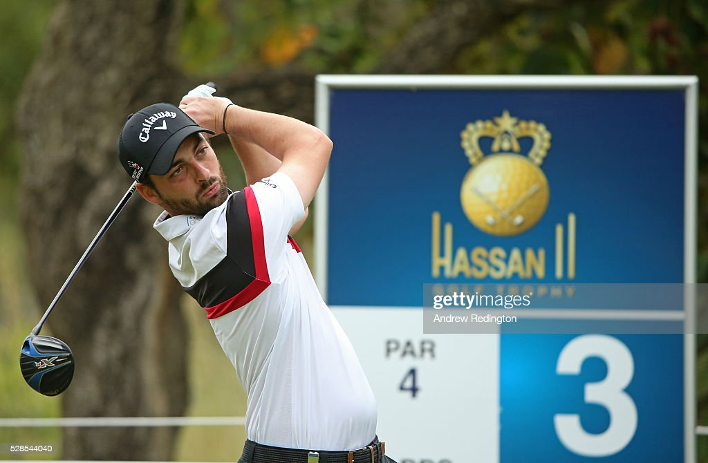 Thomas Linard of France plays hits tee shot on the third hole during the second round of the Trophee Hassan II at Royal Golf Dar Es Salam on May 6, 2016 in Rabat, Morocco.