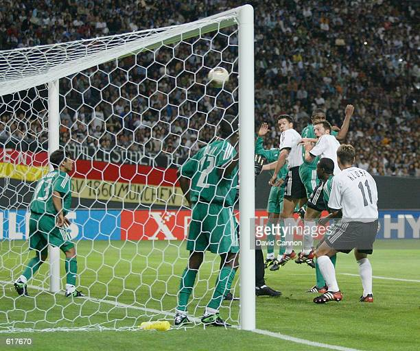 Thomas Linke of Germany scores the sixth goal in the second half during the Germany v Saudi Arabia Group E World Cup Group Stage match played at the...