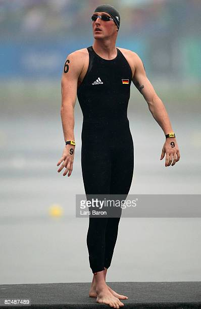 Thomas Lurz of Germany stands on the starting platform before the start of the men's 10km marathon swimming event held at the National Aquatics...
