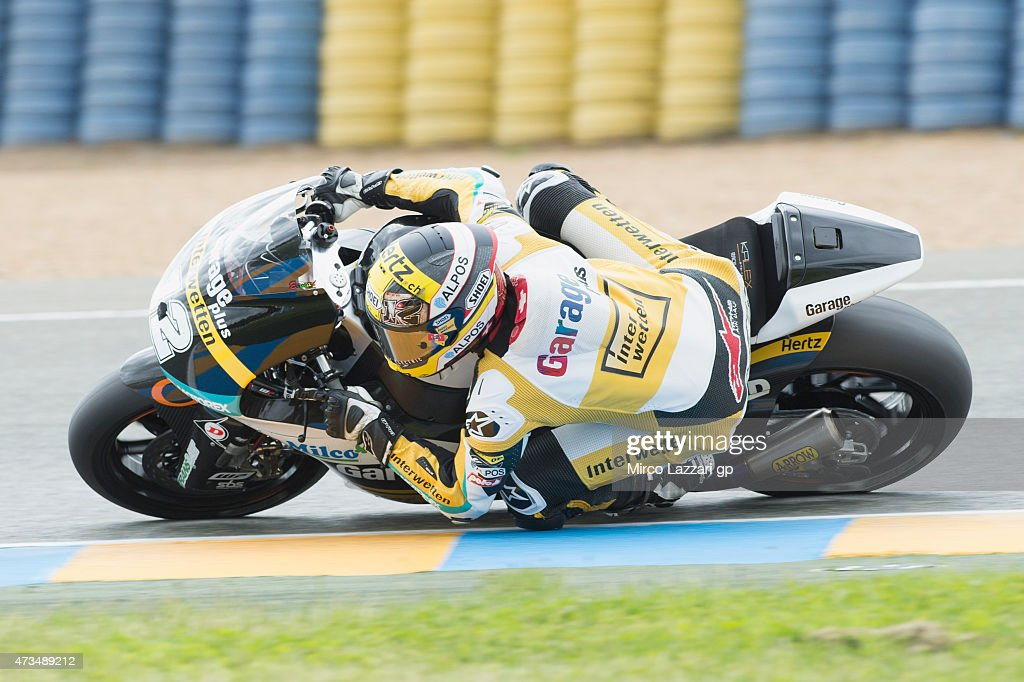 Thomas Luthi of of Switzerland and Derendinger Racing Interwetten rounds the bend during the MotoGp of France - Free Practice at on May 15, 2015 in Le Mans, France.