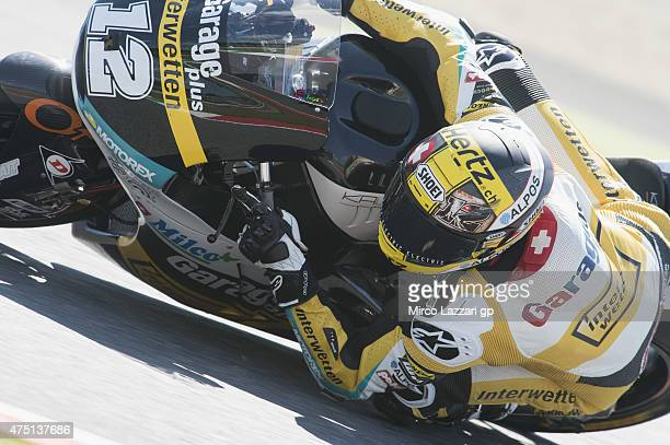 Thomas Luthi of of Switzerland and Derendinger Racing Interwetten rounds the bend during the MotoGp of Italy Free Practice at Mugello Circuit on May...
