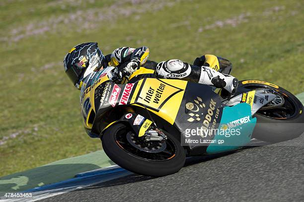 Thomas Luthi of of Switzerland and Interwetten Paddock rounds the bend during the Moto2 and Moto3 Tests in Jerez Day Three at Circuito de Jerez on...