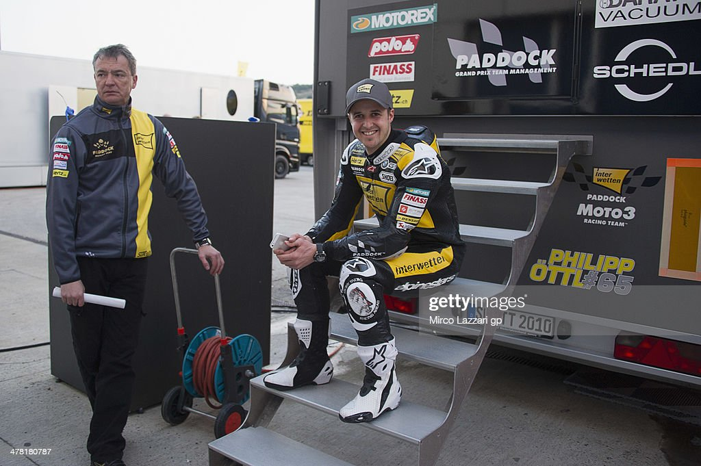Thomas Luthi of of Switzerland and Interwetten Paddock smiles in paddock during the Moto2 and Moto3 Tests in Jerez - Day Two at Circuito de Jerez on March 12, 2014 in Jerez de la Frontera, Spain.