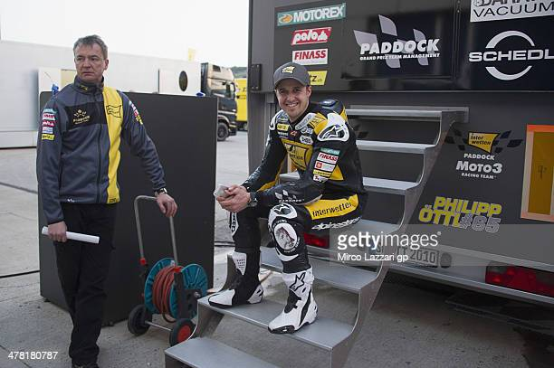 Thomas Luthi of of Switzerland and Interwetten Paddock smiles in paddock during the Moto2 and Moto3 Tests in Jerez Day Two at Circuito de Jerez on...