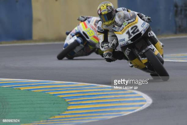 Thomas Luthi of Switzerland and Carxpert Interwetten leads the field during the MotoGp of France Qualifying on May 20 2017 in Le Mans France