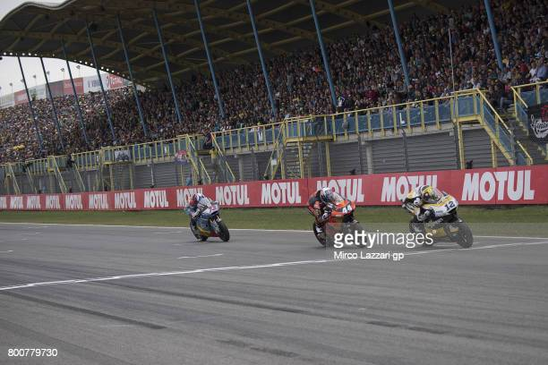 Thomas Luthi of Switzerland and Carxpert Interwetten leads the field during the Moto2 Race during the MotoGP Netherlands Race on June 25 2017 in...