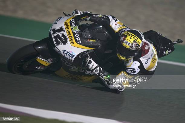 Thomas Luthi of Switzerland and Carxpert Interwetten rounds the bend during the MotoGp of Qatar Free Practice at Losail Circuit on March 23 2017 in...