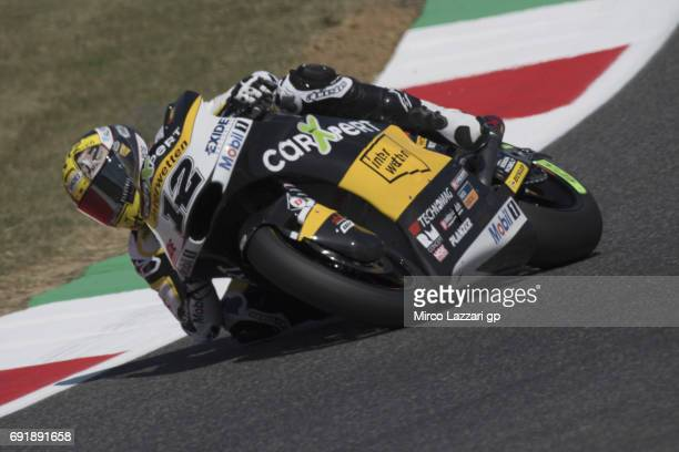 Thomas Luthi of Switzerland and Carxpert Interwetten rounds the bend during the MotoGp of Italy Qualifying at Mugello Circuit on June 3 2017 in...