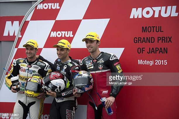 Thomas Luthi of Switzerland and Derendinger Racing Interwetten Johann Zarco of French and AJO Motorsport and Jonas Folger of Germany and Arginano...