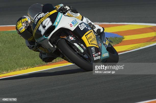 Thomas Luthi of Switzerland and Derendinger Racing Interwetten rounds the bend during the GP of Valencia Free Practice at Ricardo Tormo Circuit on...