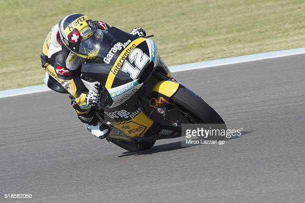 Thomas Luthi of Switzerland and Garage Plus Interwetten heads down a straight during the MotoGp of Argentina Free Practice at Termas De Rio Hondo...