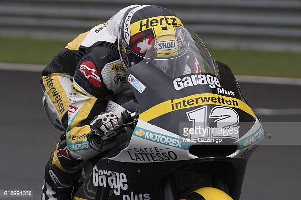 Thomas Luthi of Switzerland and Garage Plus Interwetten heads down a straight during the MotoGP Of Malaysia Qualifying at Sepang Circuit on October...