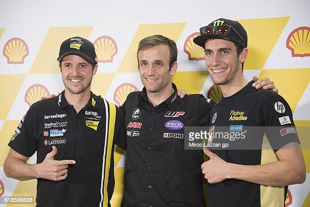 Thomas Luthi of Switzerland and Garage Plus Interwetten Johann Zarco of France and Ajo Motorsport and Alex Rins of Spain and Paginas Amarillas HP40...