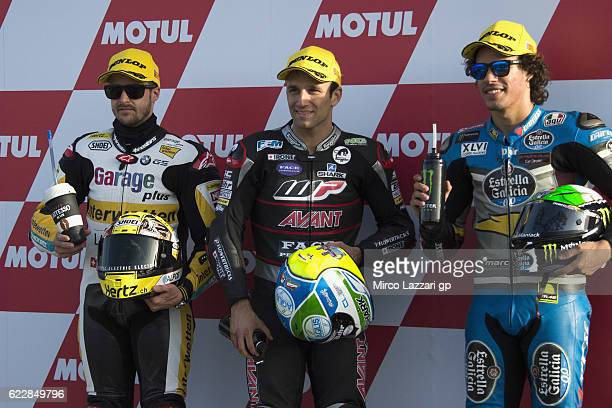Thomas Luthi of Switzerland and Garage Plus Interwetten Johann Zarco of France and Ajo Motorsport and Franco Morbidelli of Italy and Estrella Galicia...