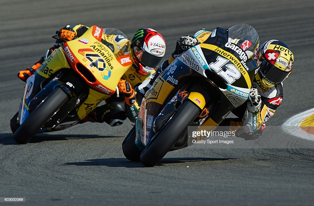 Thomas Luthi of Switzerland and Garage Plus Interwetten Kalex rounds the bend during the MotoGP of Valencia - Race at Comunitat Valenciana Ricardo Tormo Circuit on November 13, 2016 in Valencia, Spain.