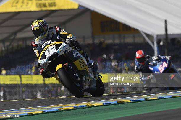 Thomas Luthi of Switzerland and Garage Plus Interwetten leads the field during the MotoGp of France Free Practice on May 6 2016 in Le Mans France