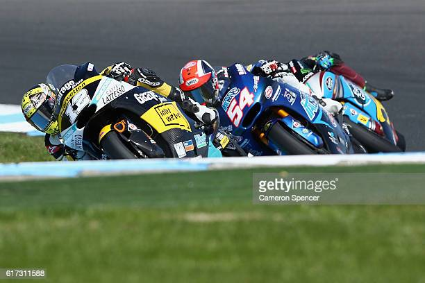 Thomas Luthi of Switzerland and Garage Plus Interwetten leads the Moto2 during the 2016 MotoGP of Australia at Phillip Island Grand Prix Circuit on...