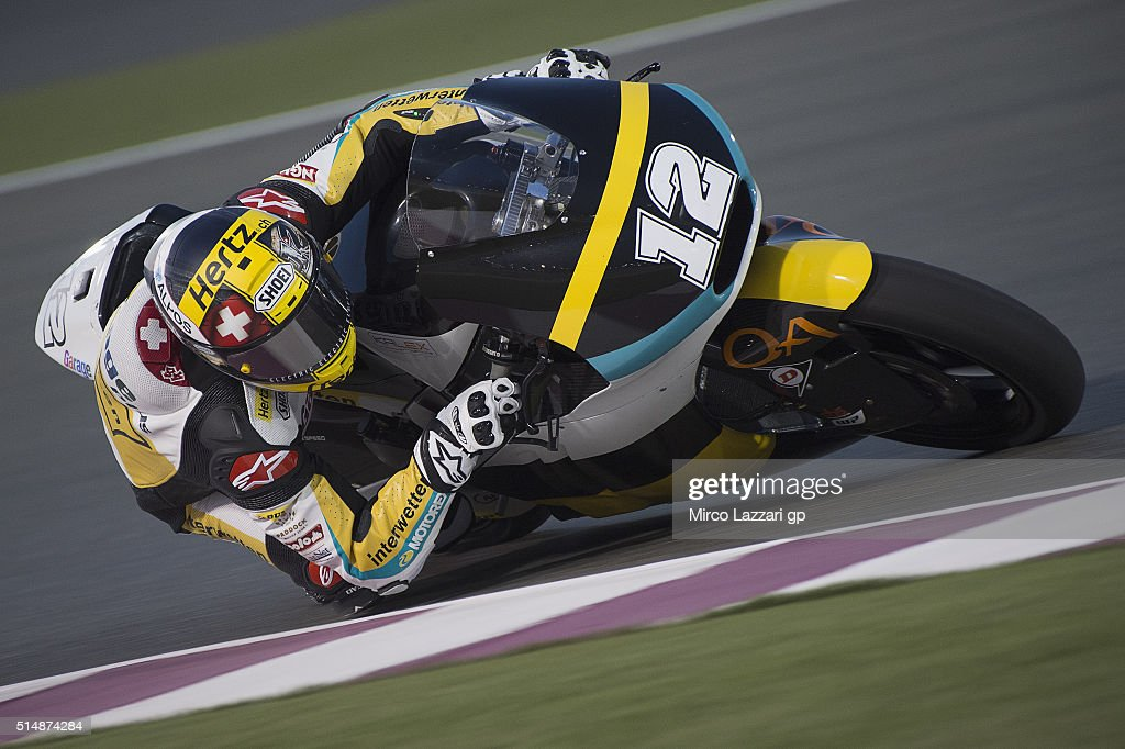 Thomas Luthi of Switzerland and Garage Plus Interwetten rounds the bend during Moto2 And Moto 3 Tests at Losail Circuit on March 11, 2016 in Doha, Qatar.