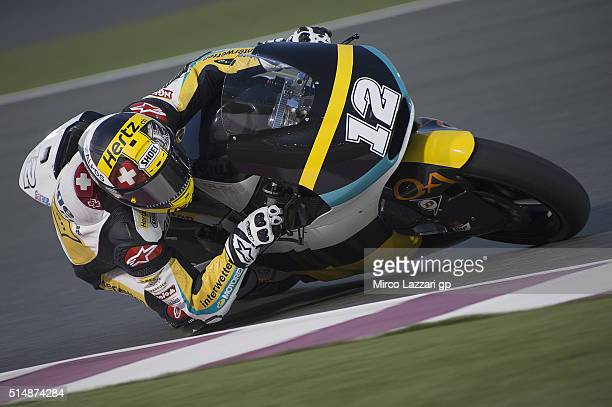 Thomas Luthi of Switzerland and Garage Plus Interwetten rounds the bend during Moto2 And Moto 3 Tests at Losail Circuit on March 11 2016 in Doha Qatar