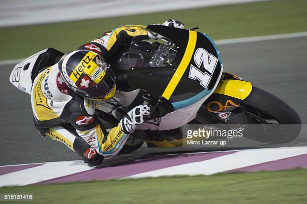 Thomas Luthi of Switzerland and Garage Plus Interwetten rounds the bend during the Moto2 And Moto 3 Tests at Losail Circuit on March 12 2016 in Doha...