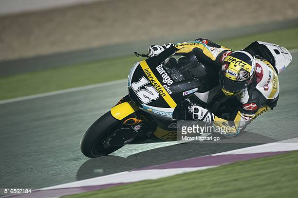 Thomas Luthi of Switzerland and Garage Plus Interwetten rounds the bend during the qualifying practice during the MotoGp of Qatar Qualifying at...