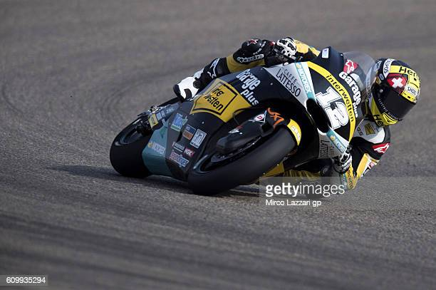 Thomas Luthi of Switzerland and Garage Plus Interwetten rounds the bend during the MotoGP of Spain Free Practice at Motorland Aragon Circuit on...