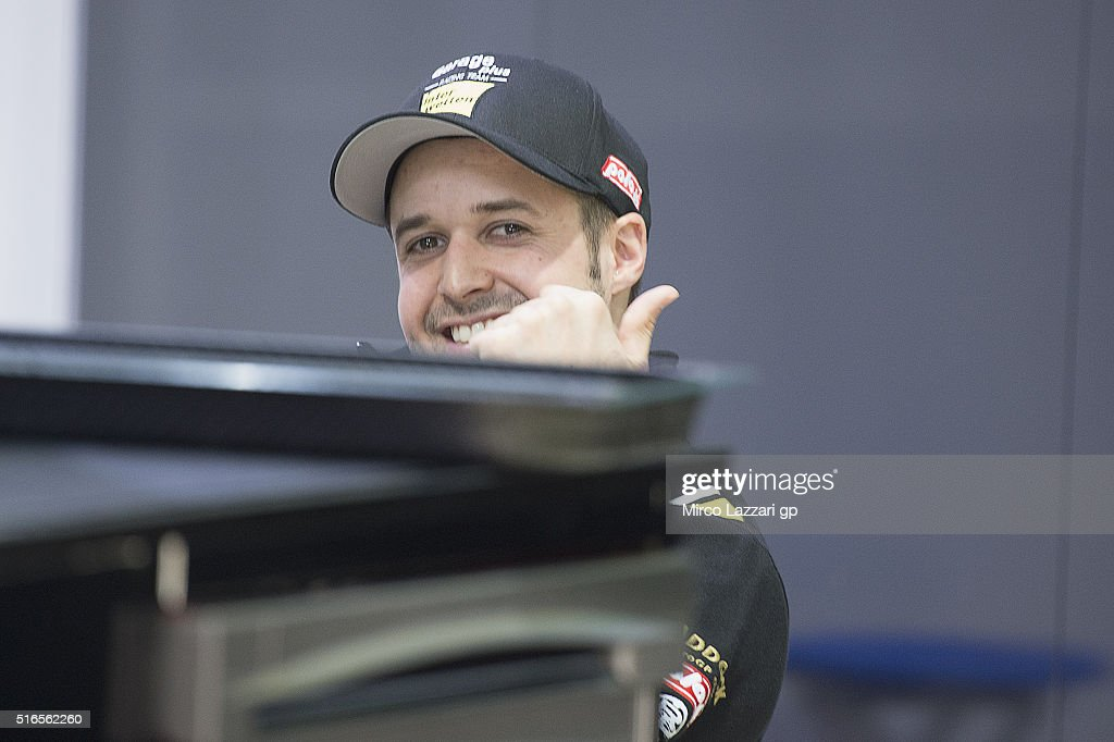 Thomas Luthi of Switzerland and Garage Plus Interwetten smiles in box during the qualifying practice during the MotoGp of Qatar - Qualifying at Losail Circuit on March 19, 2016 in Doha, Qatar.