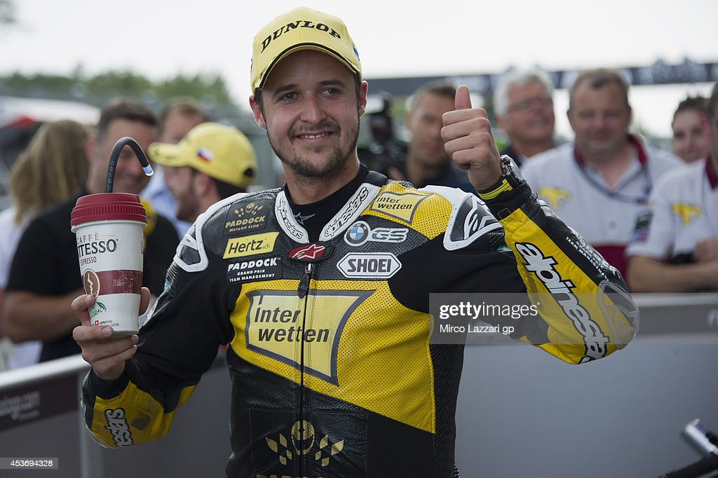 Thomas Luthi of Switzerland and Interwetten Paddock celebrates the second place at the end of the qualifying practice during MotoGp of Czech Republic - Qualifying at Brno Circuit on August 16, 2014 in Brno, Czech Republic.