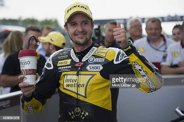 Thomas Luthi of Switzerland and Interwetten Paddock celebrates the second place at the end of the qualifying practice during MotoGp of Czech Republic...