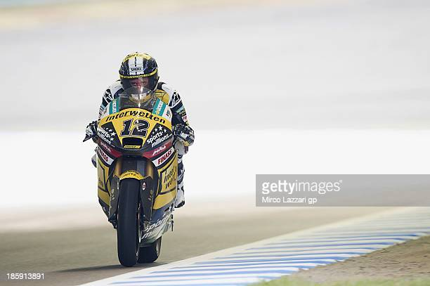 Thomas Luthi of Switzerland and Interwetten Paddock heads down a straight during the qualifying session for the Moto2 race ahead of the MotoGP of...