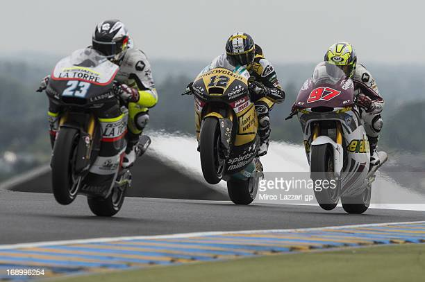 Thomas Luthi of Switzerland and Interwetten Paddock lifts the front wheel during the qualifying practice of the MotoGp Of France Qualifying on May 18...