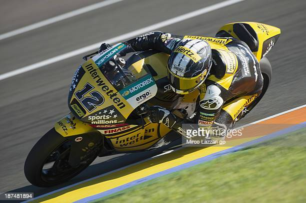 Thomas Luthi of Switzerland and Interwetten Paddock rounds the bend during MotoGP of Valencia Qualifying at Ricardo Tormo Circuit on November 9 2013...