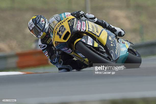 Thomas Luthi of Switzerland and Interwetten Paddock rounds the bend during the MotoGp of Czech Republic Free Practice at Brno Circuit on August 15...
