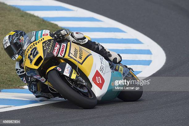 Thomas Luthi of Switzerland and Interwetten Paddock rounds the bend during the MotoGP Of Japan Free Practice at Twin Ring Motegi on October 10 2014...