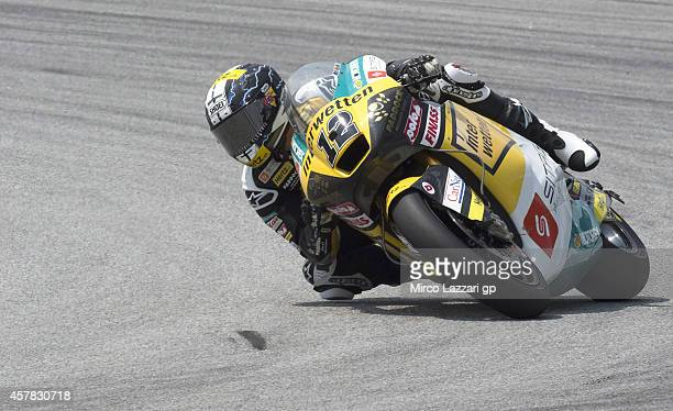 Thomas Luthi of Switzerland and Interwetten Paddock rounds the bend during the MotoGP Of Malaysia Qualifying at Sepang Circuit on October 25 2014 in...