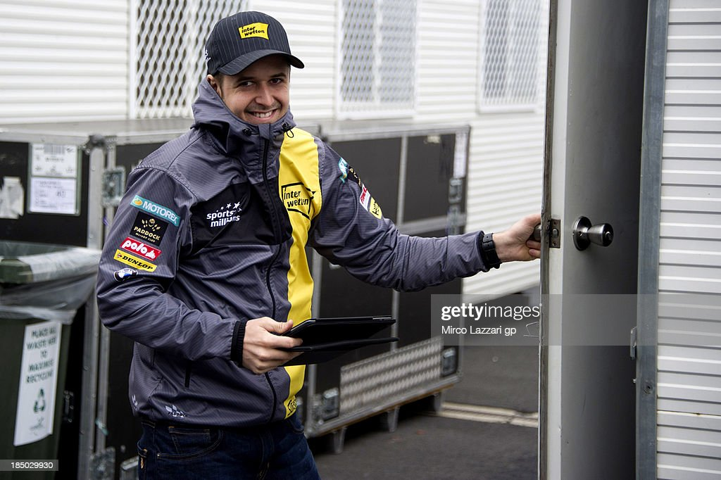 Thomas Luthi of Switzerland and Interwetten Paddock smiles in paddock during the 2013 MotoGP of Australia at Phillip Island Grand Prix Circuit on October 17, 2013 in Phillip Island, Australia.