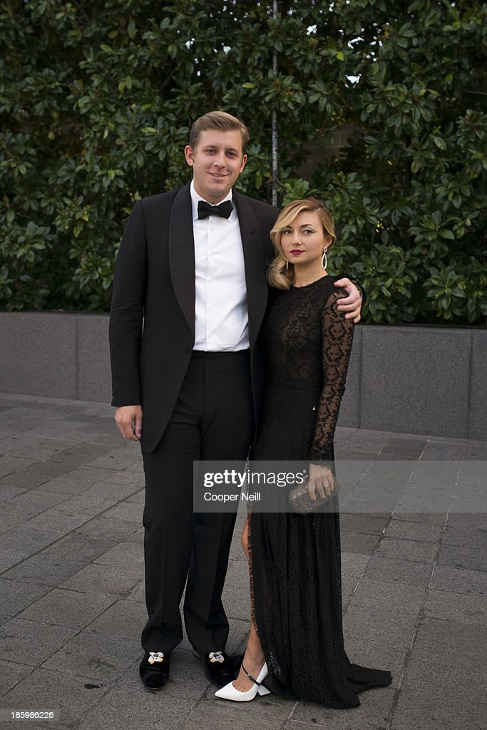 Thomas Mackie and Nasiba Adilova arrive for the 2013 TWO x TWO for AIDS and Art Gala at the Rachofsky House on October 26, 2013 in Dallas, Texas.