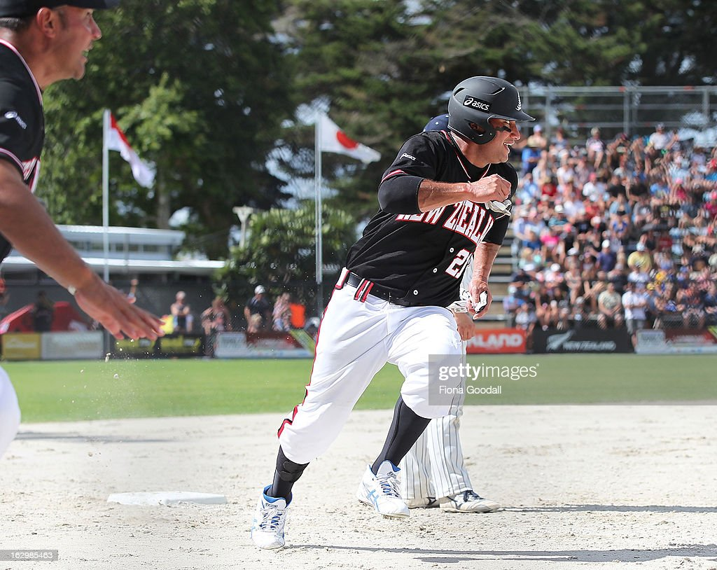 Thomas Makea on his way through third base during the pool B match between New Zealand Black Sox and Japan at Rosedale Park, Albany on March 3, 2013 in Auckland, New Zealand.