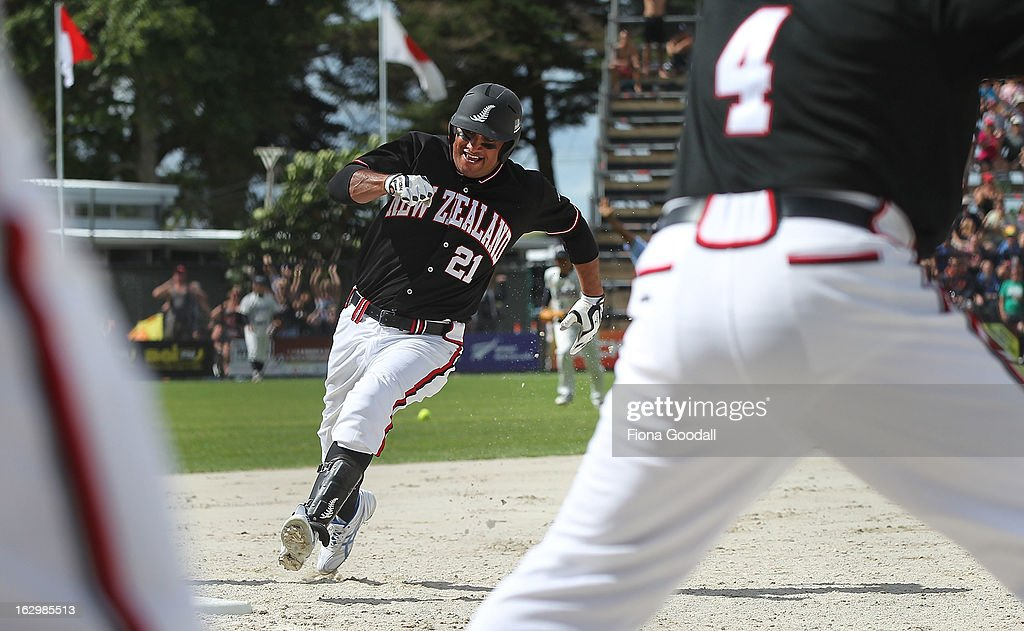 Thomas Makea on his way to home base during the pool B match between New Zealand Black Sox and Japan at Rosedale Park, Albany on March 3, 2013 in Auckland, New Zealand.