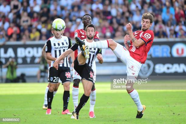 Thomas Mangani of Angers and Xeka of Lille during the Ligue 1 match between Angers SCO and Lille OSC at Stade Raymond Kopa on August 27 2017 in Angers