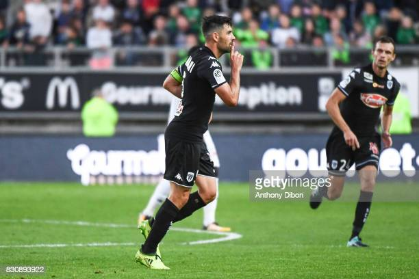 Thomas Mangani of Angers celebrates his goal during the Ligue 1 match between Amiens SC and Angers SCO at Stade de la Licorne on August 12 2017 in...