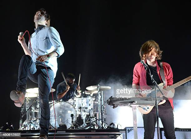 Thomas Mars and Deck D'Arcy of Phoenix perform during the 2014 Bonnaroo Music Arts Festival on June 13 2014 in Manchester Tennessee