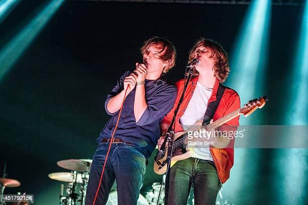 Thomas Mars and Deck D'Arcy of Phoenix performs on stage at Open'er Festival at Gdynia Kosakowo Airport on July 5 2014 in Gdynia Poland
