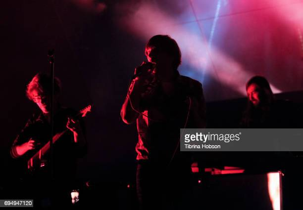 Thomas Mars and Laurent Brancowitz of Phoenix perform at the LIVE 105 BFD 2017 at Shoreline Amphitheatre on June 10 2017 in Mountain View California
