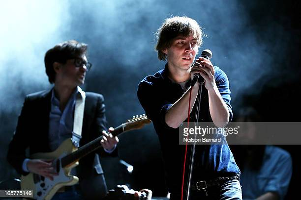 Thomas Mars and Laurent Brancowitz of the band Phoenix perform on stage for a private concert for SiriusXM listeners at the Music Hall Of...